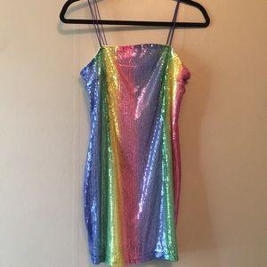 Nastygal rainbow mini dress